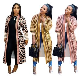 sexy outerwear coats UK - Women Leopard Jacket Cardigan summer spring clothing Threaded sleeve long sleeve outerwear long Jacket sexy & club sportswear coat gym 0016