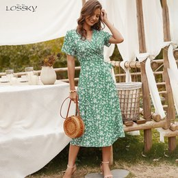 summer night dress for ladies Australia - Summer Long Dress Women Casual Floral Print Midi Sundresses Bow Belt Ladies Fitted Everyday Clothes 2020 Red Dresses For Women Y200601