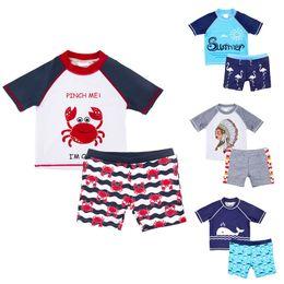 Boys two piece swimwear online shopping - Little Boy Patchwork Swimsuit Set Styles Raglan Sleeve Quick Drying Kids Designer Swimwear Cartoon Whale Crab Pattern Swimming Trunks