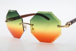 $enCountryForm.capitalKeyWord NZ - 2019 Wholesale High end brand Glasses Shield 4189706 Rimless Carved Wood Sunglasses Rectangle Unisex Wood Glasses Carved Lens New