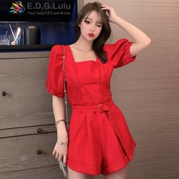 high quality jumpsuits Australia - EDGLuLu High Quality Square Neck Red Short Jumpsuit Women Summer 2020 Elegant Party Casual+sashes Short Playsuit 0418