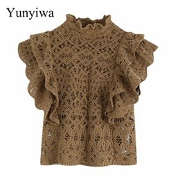 ruffle back blouse Australia - 2020 Women Sexy Hollow Out Lace Crochet Blouses Ladies Elegant Cascading Ruffles Back Buttons Casual Shirts Blusas Tops
