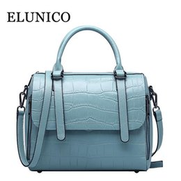 Patchwork Plaid Handbags Australia - ELUNICO Genuine Leather Tote Bags Handbags Women Famous Brands Fashion Crocodile Pattern Cowhide Messenger Shoulder Bag Bolsas