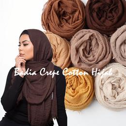 $enCountryForm.capitalKeyWord Australia - 10pcs lot women crinkle solid hijabs scarf oversize islam shawl head wraps soft long muslim frayed wrinkle cotton plain hijab