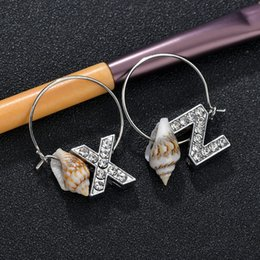 initial earrings Australia - New Korean Letter Name Earrings A-Z Initials Crystal Sea Shell Tassel Hoop Earrings Brincos 2019 For Women Female Christmas
