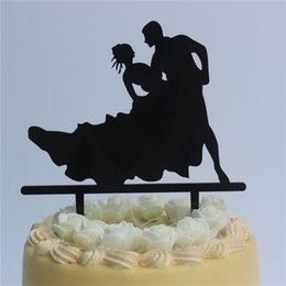 anniversary party decorations UK - Romantic Wedding Anniversary Cake Toppers - Bride and Groom Dance Silhouette for Ruby Wedding Party Decoration