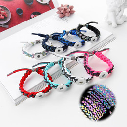 $enCountryForm.capitalKeyWord Australia - Hot New Handmade Woven Shining Aurora Bracelet 142 Interchangeable 18mm Snap Button Bangle Charm Jewelry For Women Men Gift