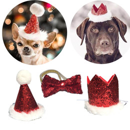 SeaSon Set online shopping - Christmas Pet Dog Cat Bow Tie and Cap Cute Red Bowknot Tie Collar Adjustable Pom poms Topper for Party Cap