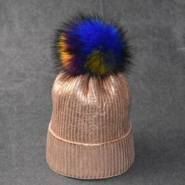 Colorful Knit Hats NZ - Designer Gold Stamping Knitted Pom Beanies Hats Men Women Silver Stamping Skull Cap Winter Warm Hat with Colorful Fur Ball Cheap Wholesale