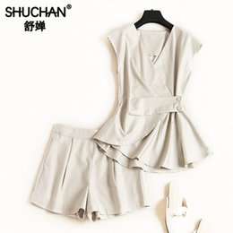 sleeveless tops office NZ - Shuchan Shorts Suit Summer 2019 2 Piece Set Office Lady Tops with Sleeveless +shirts Women's Costume Female Summer Suit 51288