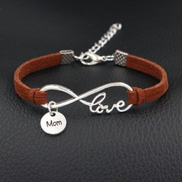 Love Bracelet For Couples Silver NZ - Hot Sale 10 Style Couples Distance Brown Leather Rope Bracelet Infinity Love Mom Round Bangle for Men Women Friend Gift Charm Strand Jewelry