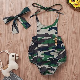 Camouflage rompers online shopping - Baby Kids Camouflage Rompers Boy Printed Hanging Collar Romper With Headband Baby Infant Girl Designer Clothes Summer Romper Clothes M