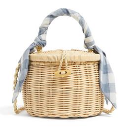 Scarfs Cotton Australia - hot selling summer kids rattan round basket hand bag shoulder crossboby bag wicker bamboo woven natural girls small beach handbag with scarf