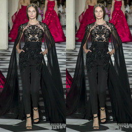 detachable prom dresses UK - Black 2020 Zuhair Murad Jumpsuits Prom Dresses With Cape Jewel Neck Lace Appliqued Beads Evening Gowns Formal Party Dress