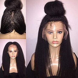 kinky straight yaki wigs NZ - African hair wig yaki kinky straight full lace wig for black women italian coarse yaki human hair front lace wigs