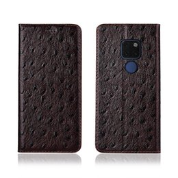 Mate Genuine Leather Australia - Ostrich Texture Phone Case For Huawei Mate 20 Genuine Cowhide Leather Flip Card Phone Case For Huawei Mate 20 Case Stand Coque