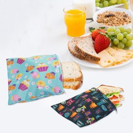 wholesale rattan bag Australia - 3pcs Reusable Food Storage Bag Snack Package Bag Waterproof Bread Sandwich Wrap Pouch For School Camping Work Travel