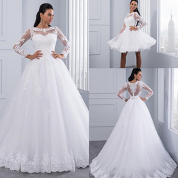 Design long Dress muslim online shopping - Designed Fashion Long Sleeves Ball Gown Wedding Dresses Fabulous Beading Lace Appliques Formal Bridal Gown With Detachable Skirt AL3169