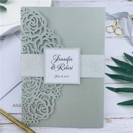 $enCountryForm.capitalKeyWord Australia - Elegant Shimmery Silver Wedding Invitation With Laser Cut Pocketfold, Gorgeous Lace Wedding Invitation With Tag, RSVP card And Belly Band