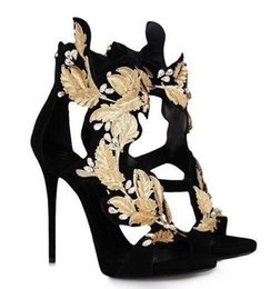 151cd816e4bc0 New Designer Classic Golden Wings Leaf Strappy Dress Sandals Silver Gold  Gladiator High Heels Cutouts Shoes Women Metallic Winged Sandals