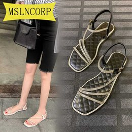 chain open toe sandal NZ - Plus Size 34-46 Women Summer Flat Slippers Rhinestone Shoes Open Toe Roman Beach Sandals Ladies Sexy Rhinestones Chains Black