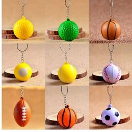 sports football key chains UK - Cheap Football Basketball Baseball Table Tennis PU Keychain Toys, Fashion Sports Item Key Chains Jewelry Gift For Boys And Girls