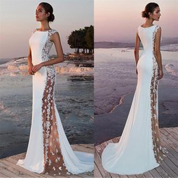 slit neckline lace wedding dress NZ - Fabulous Stretch Satin Bateau Neckline See-through Cutout Side Mermaid Wedding Dress With Beaded Lace Appliques Bridal Dress