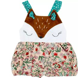 Cute sling bags online shopping - Stitching Floral Jumpsuit White Fox Face Sleeveless Climbing Suit Square Collar Animal Stitching Fox Sling Cute Bag