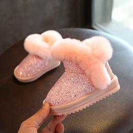 $enCountryForm.capitalKeyWord Australia - 2019 Children's Snow Girls Rabbit Fur Baby Cotton Shoes Sequins Genuine Leather Boots MX190727