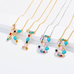 $enCountryForm.capitalKeyWord NZ - 2019 Multicolor fashion charm Gold 26 Alphabet pendant necklace micro pave zircon initial letter necklaces Couple Name necklace