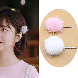 Feather Ball Hair Australia - Fashion Ball hair Accessories for Women PomPom Hairpins Cute hair Clip pins feather Bijoux De Tete Hairgrip Barrette