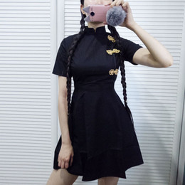 hot dress street Australia - New Hot Japanese Harajuku Vintage Gothic Lolita Dresses Black Red Slim Chinese Style Cheongsam Dress Cheongsam Robe. T5190614