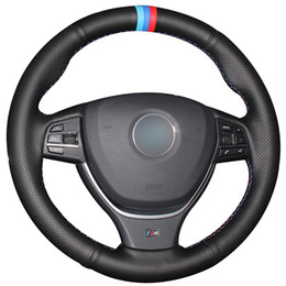 $enCountryForm.capitalKeyWord Australia - Black Natural Leather Light Blue Blue Red Marker Car Steering Wheel Cover for BMW F10 2014 520i 528i 2013 2014 730Li 740Li 750Li