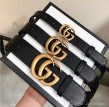 G NOUVEAU Hot vente nouveau Mens femmes ceinture noire en cuir Véritable Business ceintures Couleur pure ceinture serpent modèle boucle de ceinture pour cadeau 0211 g en Solde