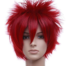 $enCountryForm.capitalKeyWord UK - WIG Women Men Short Hair Full Wig Anime Cosplay Party Costume Red Straight