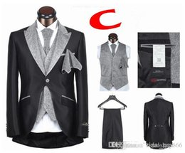 Green Suits For Sale Australia - Wholesale -Hot Sale Mens Suits Wedding Groom Tuxedos for Wedding One Button Five Pieces Black White Free shipping Vintage Best Men Classic