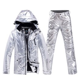 shining jackets 2019 - Shining Sliver Women Snow Suit Snowboarding clothes sets Waterproof Windproof Costume outdoor sports wear Ski Jacket + S