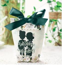 Dress Party Favor Boxes Australia - 20pcs lot White Dress Bride With Green Ribbon Wedding Party Gift Box Creative Couple Candy Boxes Wedding Favor Present Box
