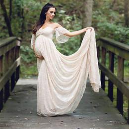 $enCountryForm.capitalKeyWord Australia - Champagne Full Lace Vintage Maternity Off the Shoulders Pregnant Bridal Dress Bride Wedding Dresses Baby Shower Beach Plus Size Party Wear