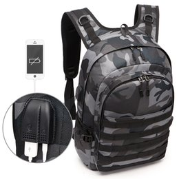 School bag gameS online shopping - Game PUBG Backpack Men School Bags Mochila Pubg Battlefield Infantry Pack Camouflage Travel Canvas USB Charging Knapsack Cosplay T191021