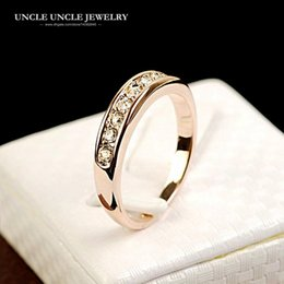 18krgp Rose Gold Canada - Rose Gold Color Clear Rhinestones Studded Classic Simple Design Women Fashion Knuckle Ring Wholesale Accessories 18krgp stamp