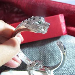высокое качество дизайнер AAA цирконий проложили леопарда голову манжеты браслет 18K желтое золото / белое золото покрытием браслеты для женщин на Распродаже