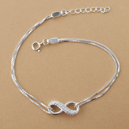 sterling silver box chain wholesale Australia - Cubic zirconia Infinite Love Charm Bracelets for Women Authentic Solid 925 Sterling Silver Box chain Bracelets Minimalist Jewelry