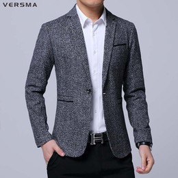 designer slim fit casual suit Australia - VERSMA 2017 Men High Quality Casual Blazer Suit Dress Jackets Male Brand Designers Slim Fit Business Suits Blazers Jacket Coat