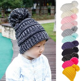 novelty gifts boys Canada - kids Pompom Hat Knit Winter warm Skullies Beanies Cap Elasticity Girls Boys outdoor sport ball cap Xmas Hats Gifts cny893