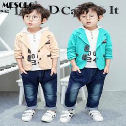 Wholesale pant coat gentleman resale online - New Autumn baby boys fashion clothing sets children s hooded shirt coat denim pants pieces suit gentleman clothes