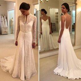 $enCountryForm.capitalKeyWord NZ - Lace Pearls 2019 Vintage Wedding Dresses Crew Long Sleeves A-line Elegant Bridal Dresses Sexy Cheap Wedding Gowns