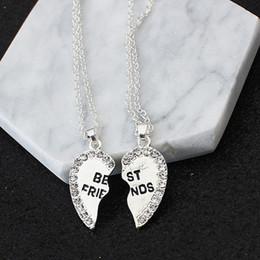 Necklaces Pendants Australia - Fashion two petals heart crystal best friend necklace good friend necklace friendship pendant necklace wholsale K3434