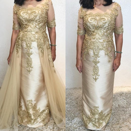 bride dresses detachable skirts NZ - Chic 2019 Gold Mermaid Mother Of The Bride Dresses Detachable Skirts Lace Appliqued Wedding Guest Dress Half Sleeve Formal Evening Gowns