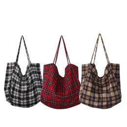 Canvas Shopping Bags Fashion Durable Women Student Cotton Linen Single  Shoulder Bag Flax Shopping Tote Check Plaid Female LJJS310 4403510fa4851